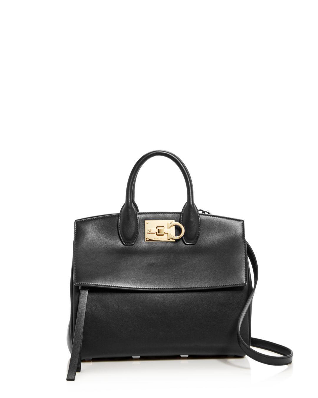 2b92e1ad3c80 Lyst - Ferragamo Women s Small Studio Leather Satchel - Black in ...