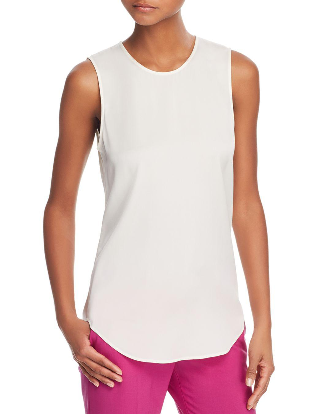 a760ab8330232 Lyst - Theory Bringam Stretch-silk Top in White