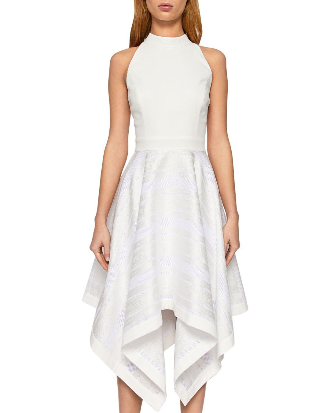 6cd42f1325bd2 Lyst - Ted Baker Ayesaa Handkerchief-hem Dress in White