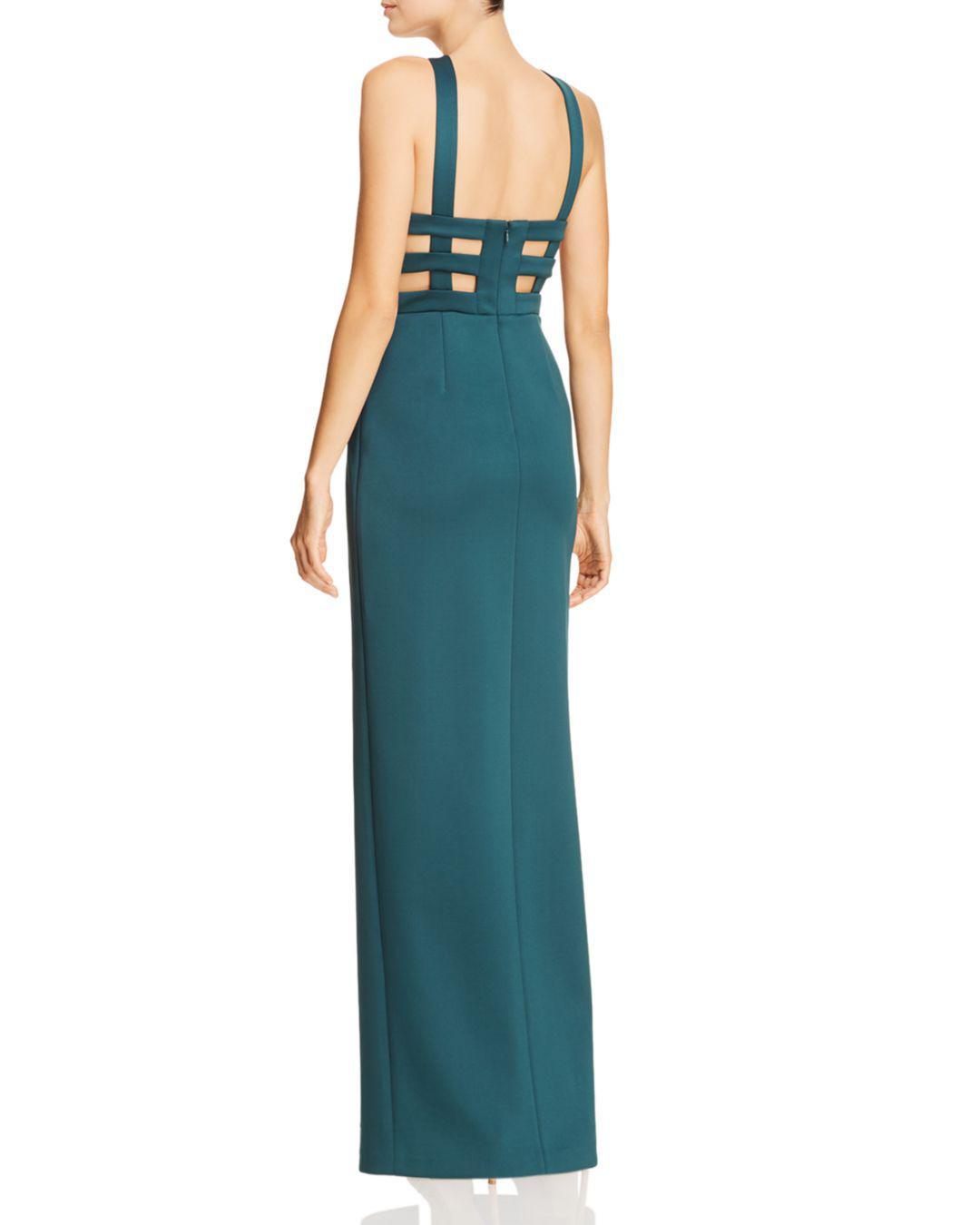 4fb7dd0106e Lyst - Aidan By Aidan Mattox Cutout Scuba Gown in Blue