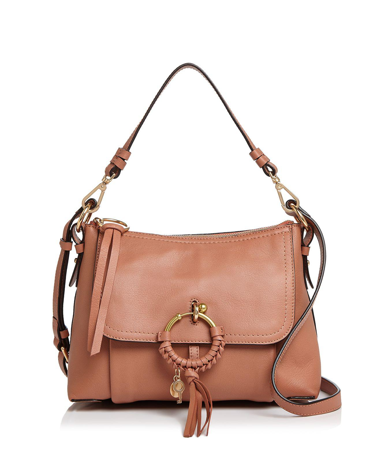 Joan Small Whipstitched Suede-paneled Textured-leather Shoulder Bag - Tan See By Chlo 9ravlu8u