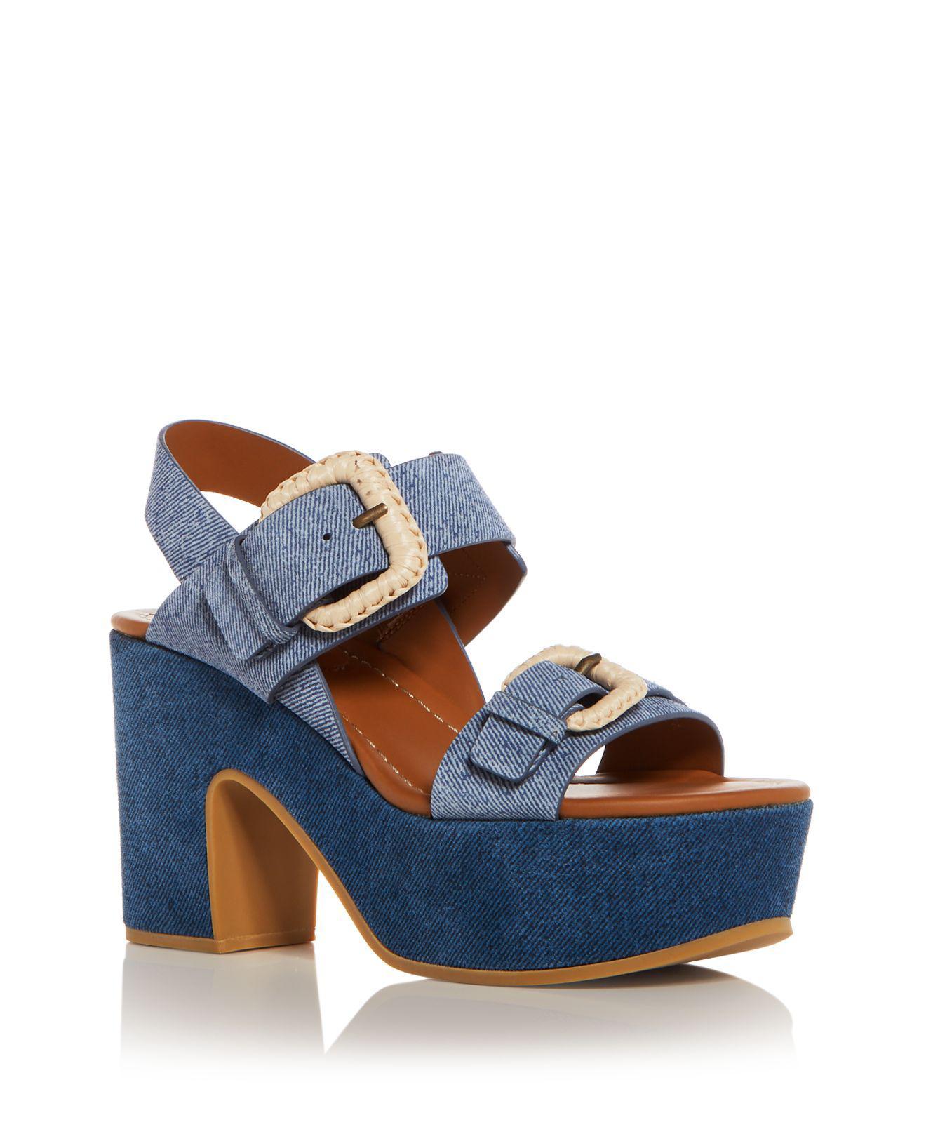 See By Chloé - Blue Women's Denim Print Suede High Heel Platform Sandals -  Lyst. View fullscreen