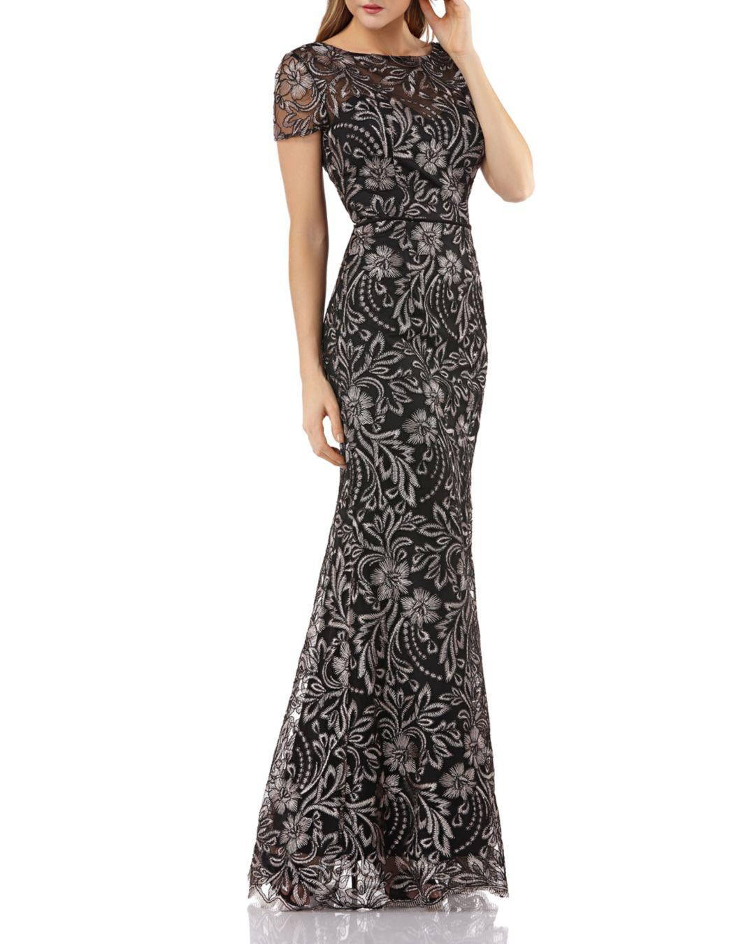 cdf13a7e8c Lyst - JS Collections Embroidered Mermaid Gown in Black