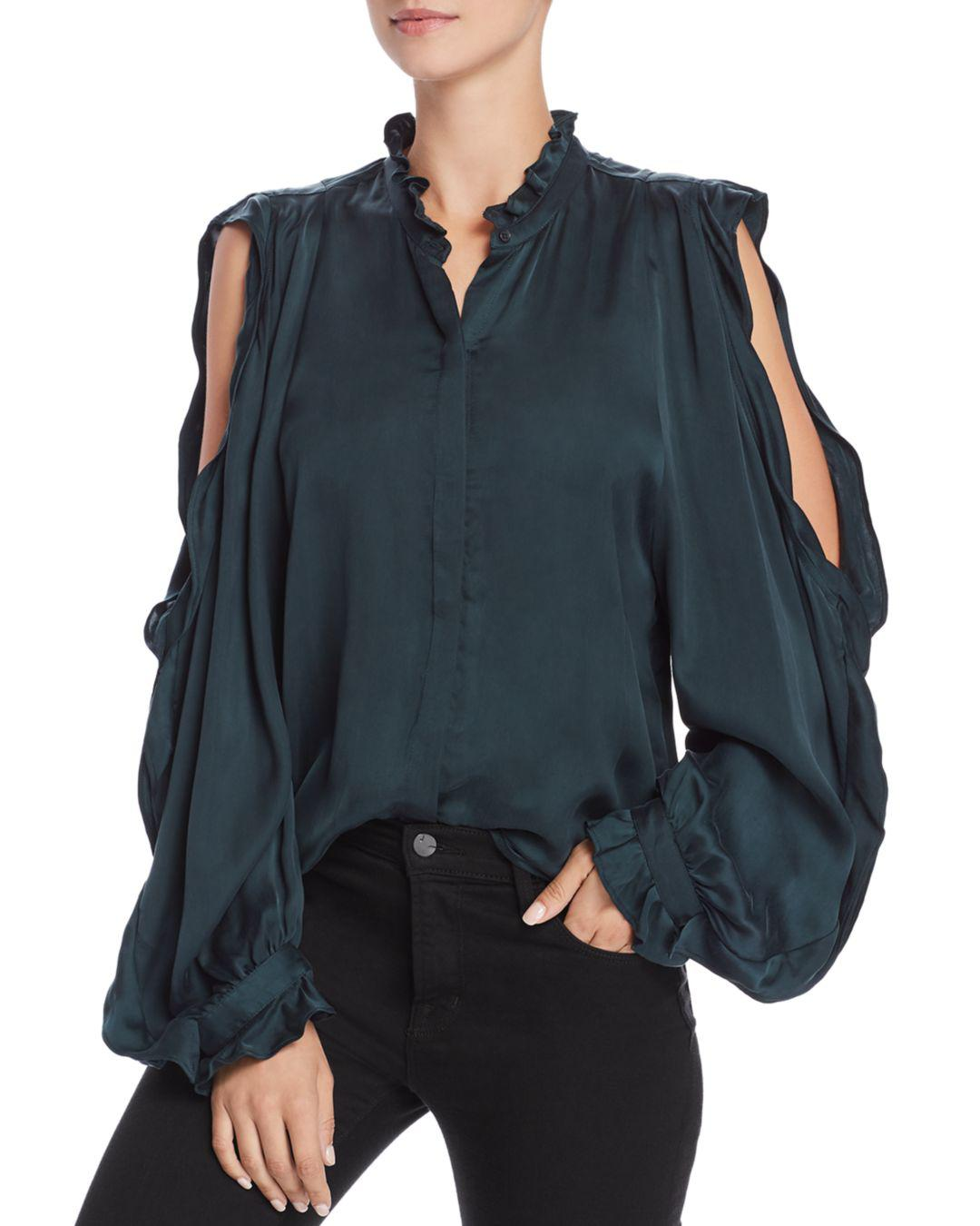 da2455c4c7c52 Lyst - 7 For All Mankind Cold-shoulder Ruffle Shirt in Green