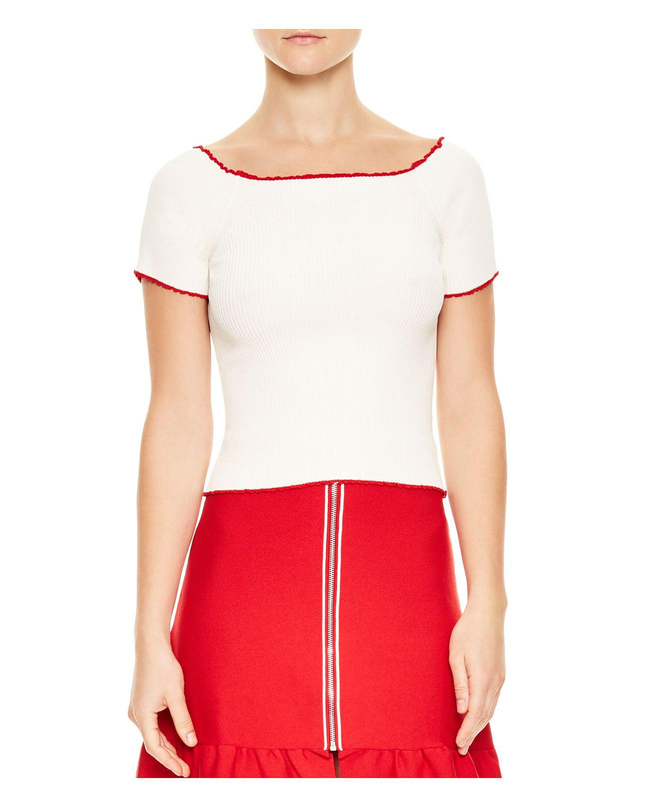 Sandro Ouma Cropped Ribbed Sweater in White | Lyst