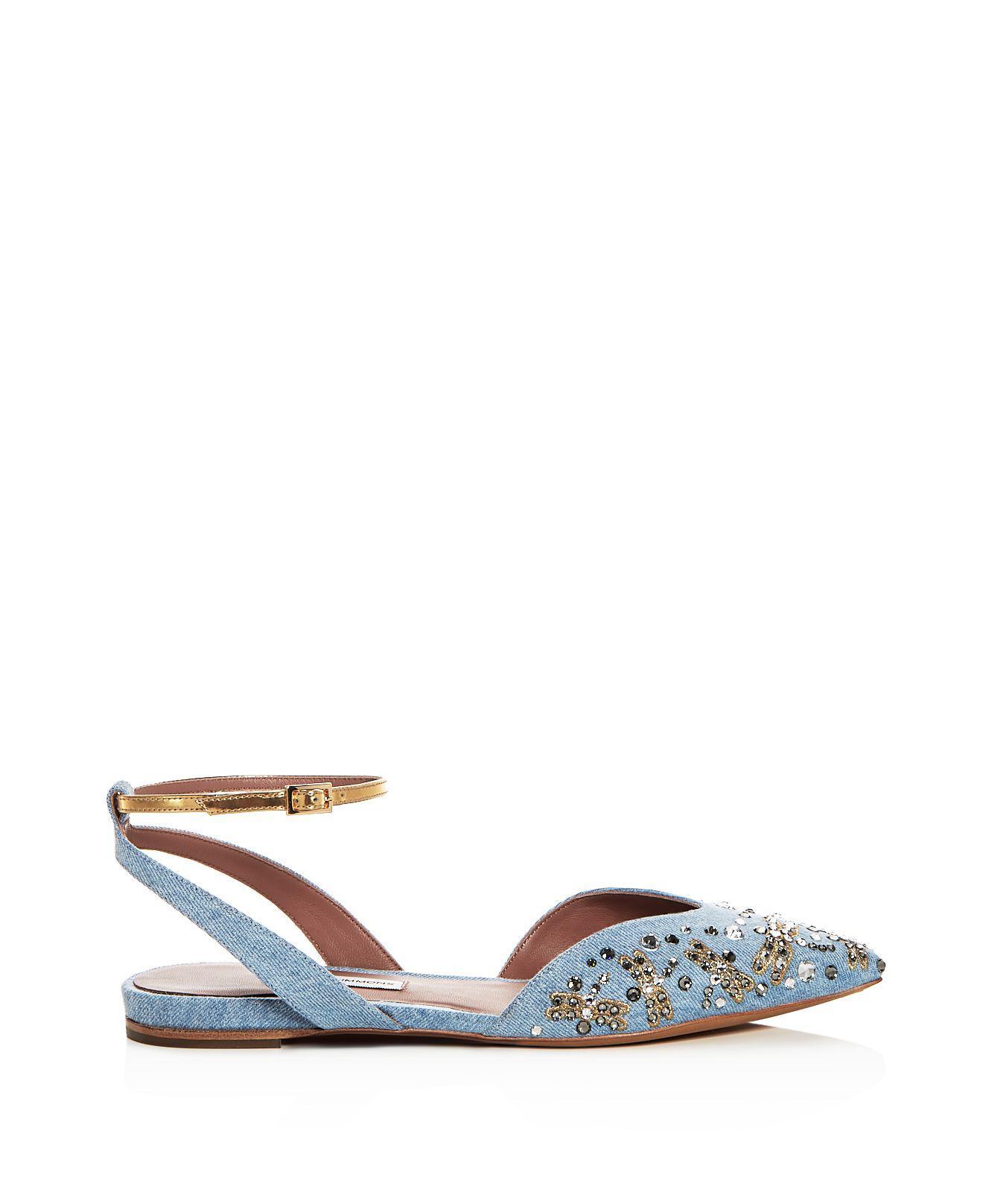 Tabitha Simmons Women's Vera Fly Spark Embellished Denim Ankle Strap Flats yVXXEK