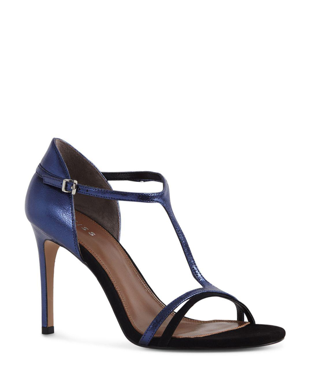 ab40e7aeb926f3 Reiss Women s Constance Leather High-heel Sandals in Blue - Lyst