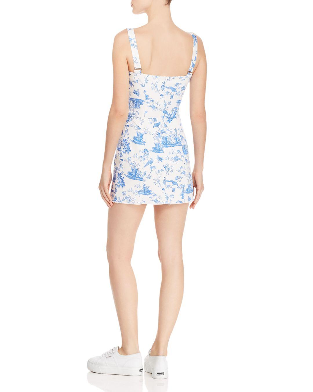 6292a3aac37c For Love & Lemons Monika Hook Front Mini Dress in Blue - Lyst