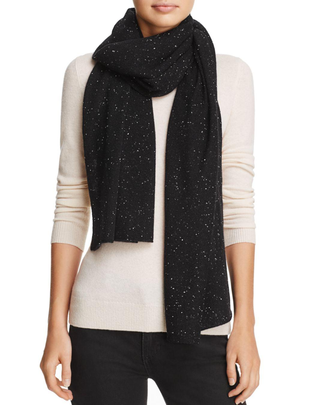 fb709fc6e C By Bloomingdale's Aqua Cashmere Donegal Cashmere Scarf in Black - Lyst