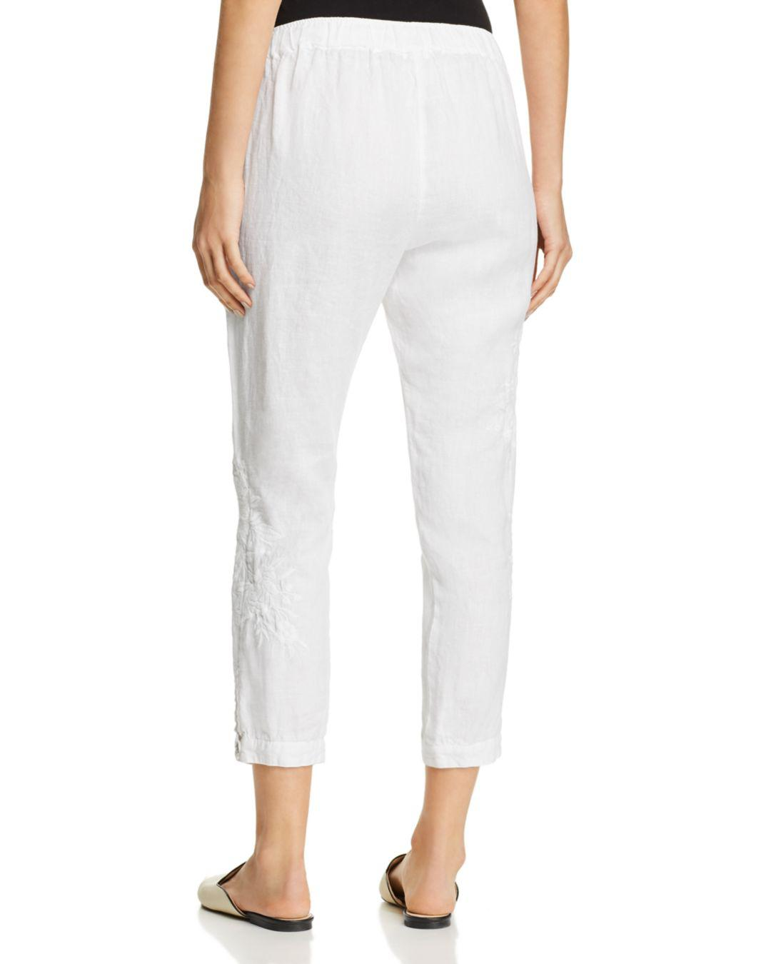 4de3a930b5c Lyst - Johnny Was Sadie Embroidered Linen Crop Pants in White