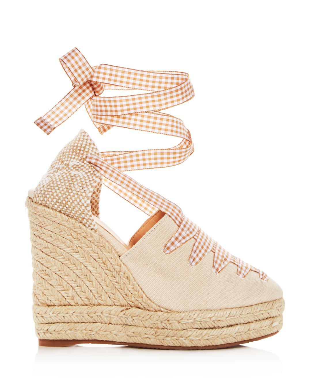 20b04d2e047e Lyst - Castaner Women s Lula Ankle Tie Platform Wedge Espadrille Sandals in  Natural