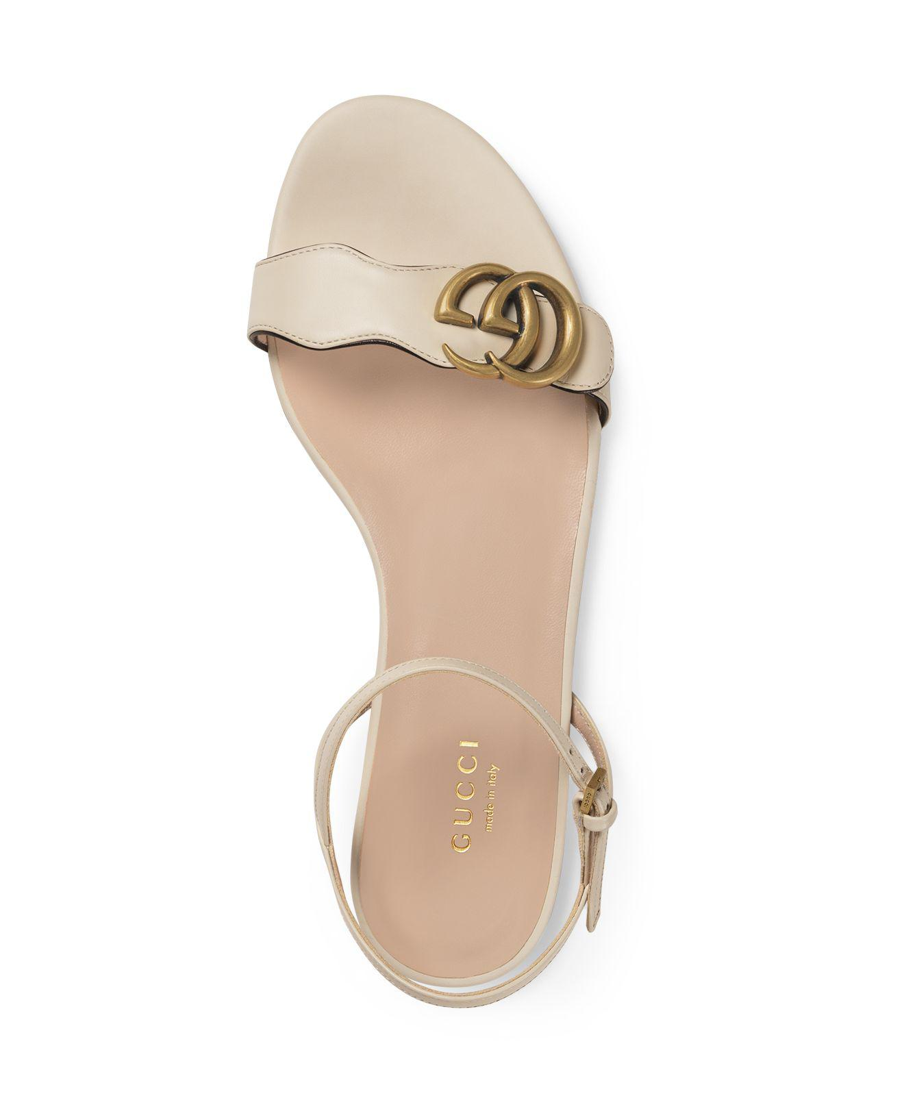 f0b71642c Gucci Women's Marmont Leather Double G Sandals in White - Lyst