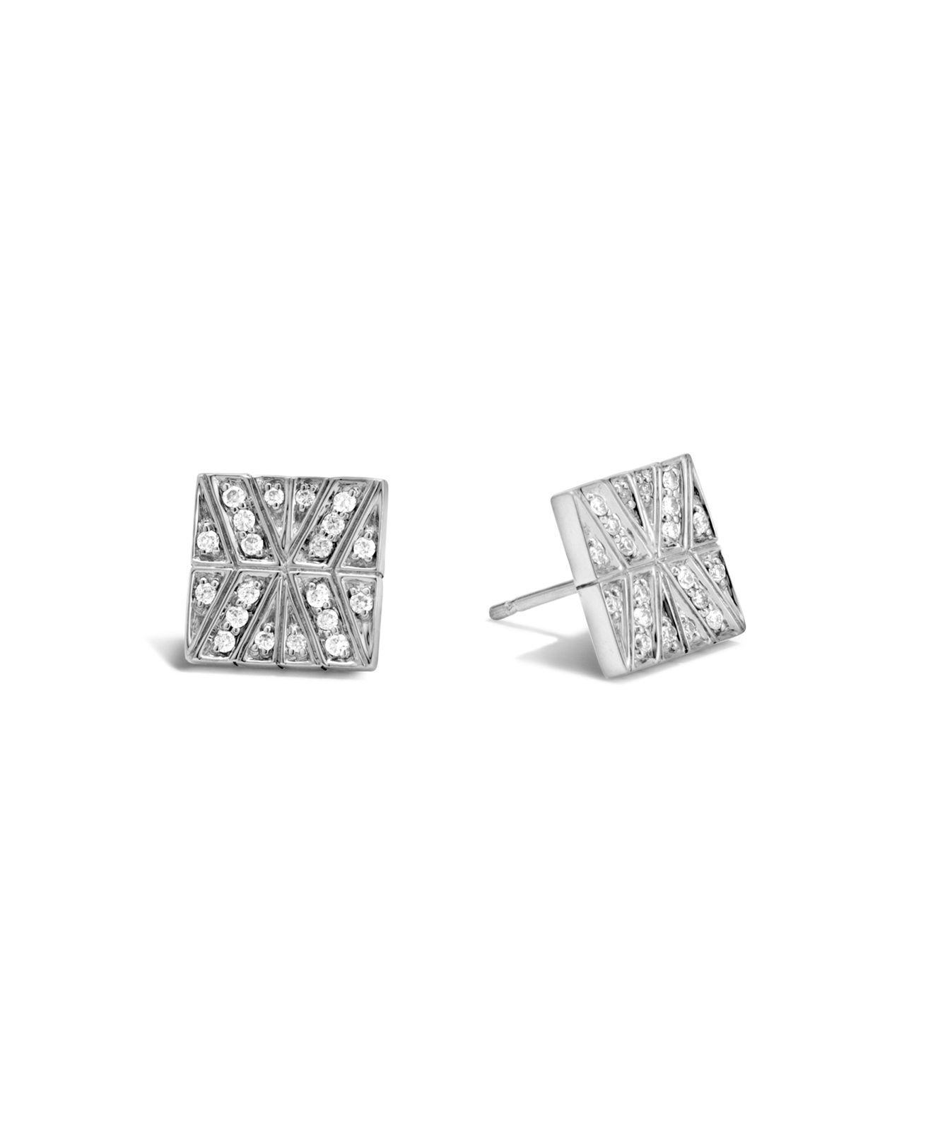John Hardy Modern Chain Stud Earrings With Diamonds White diamond peBsbInF