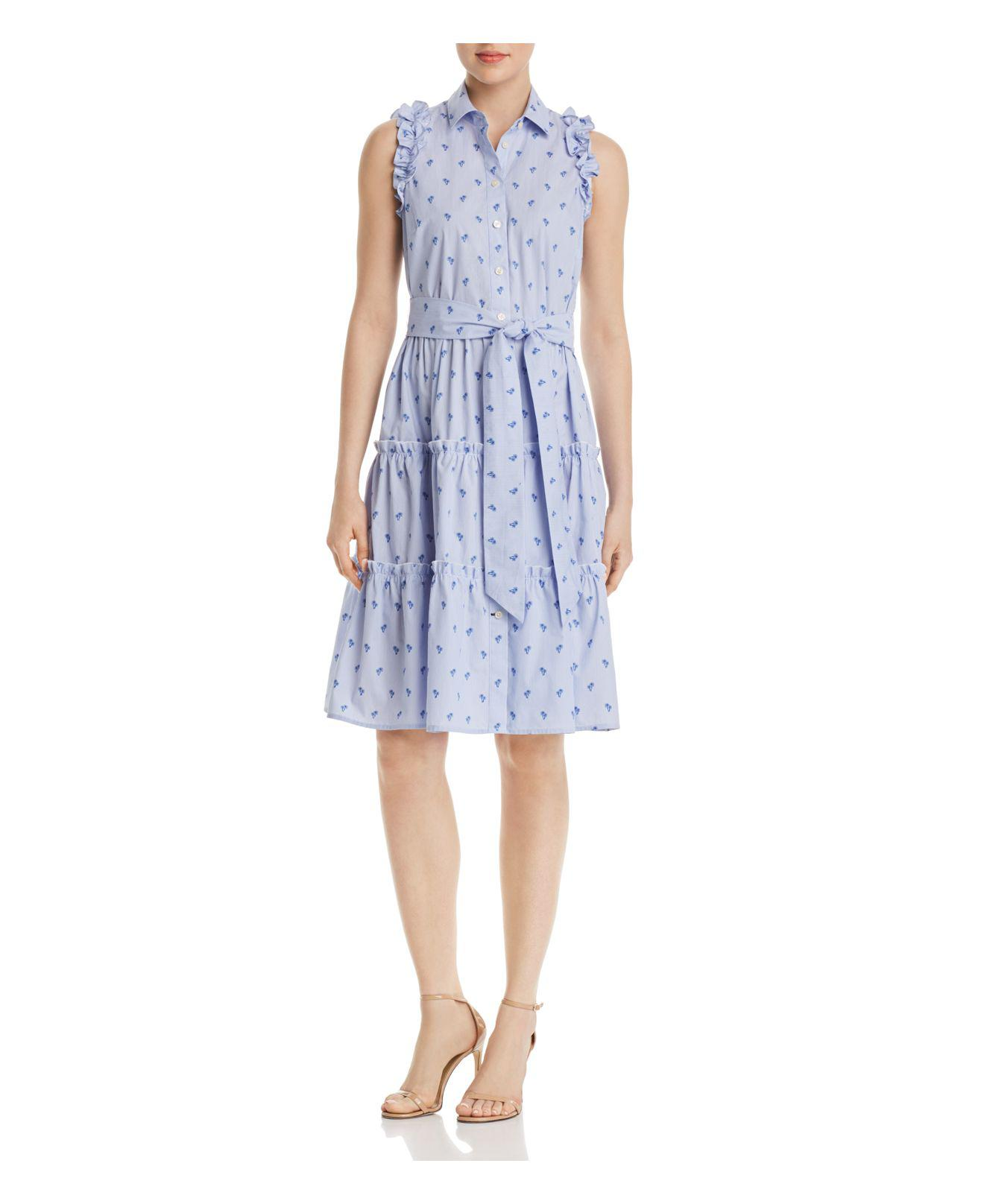 Kate Spade. Women's Blue Sleeveless Palm-tree-print Dress