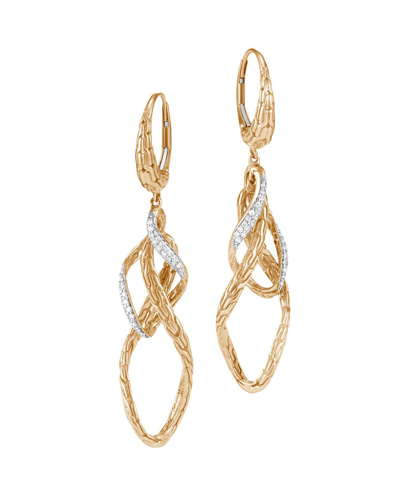John Hardy Classic Chain Small Drop Earring With Diamonds White diamond Hf8UMtRYWY