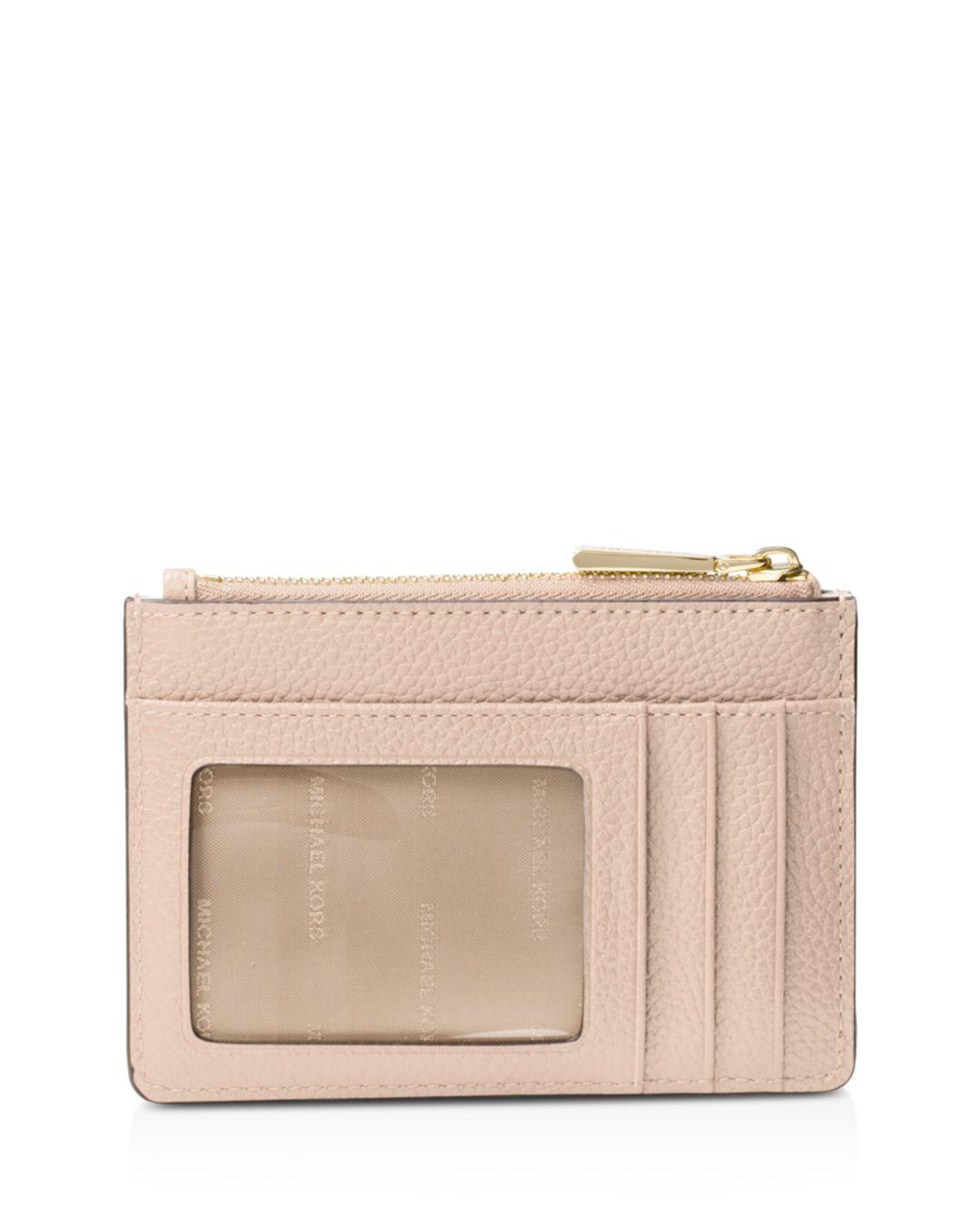 a212e1533b1d2 Lyst - Michael Kors Mercer Small Leather Coin Purse in Pink