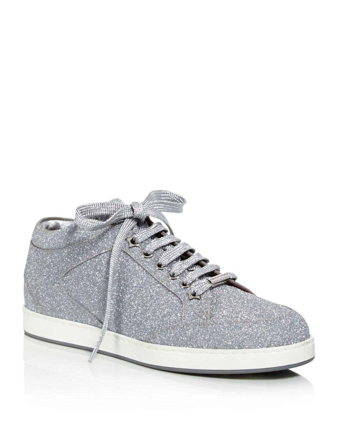sale retailer fd39b eb2e3 Jimmy Choo. Metallic Womens Miami Glitter Leather Low Top Lace Up Sneakers