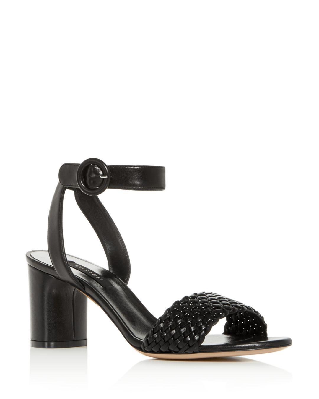 585f4be39a29 Lyst - Casadei Women s Woven Ankle-strap Block-heel Sandals in Black