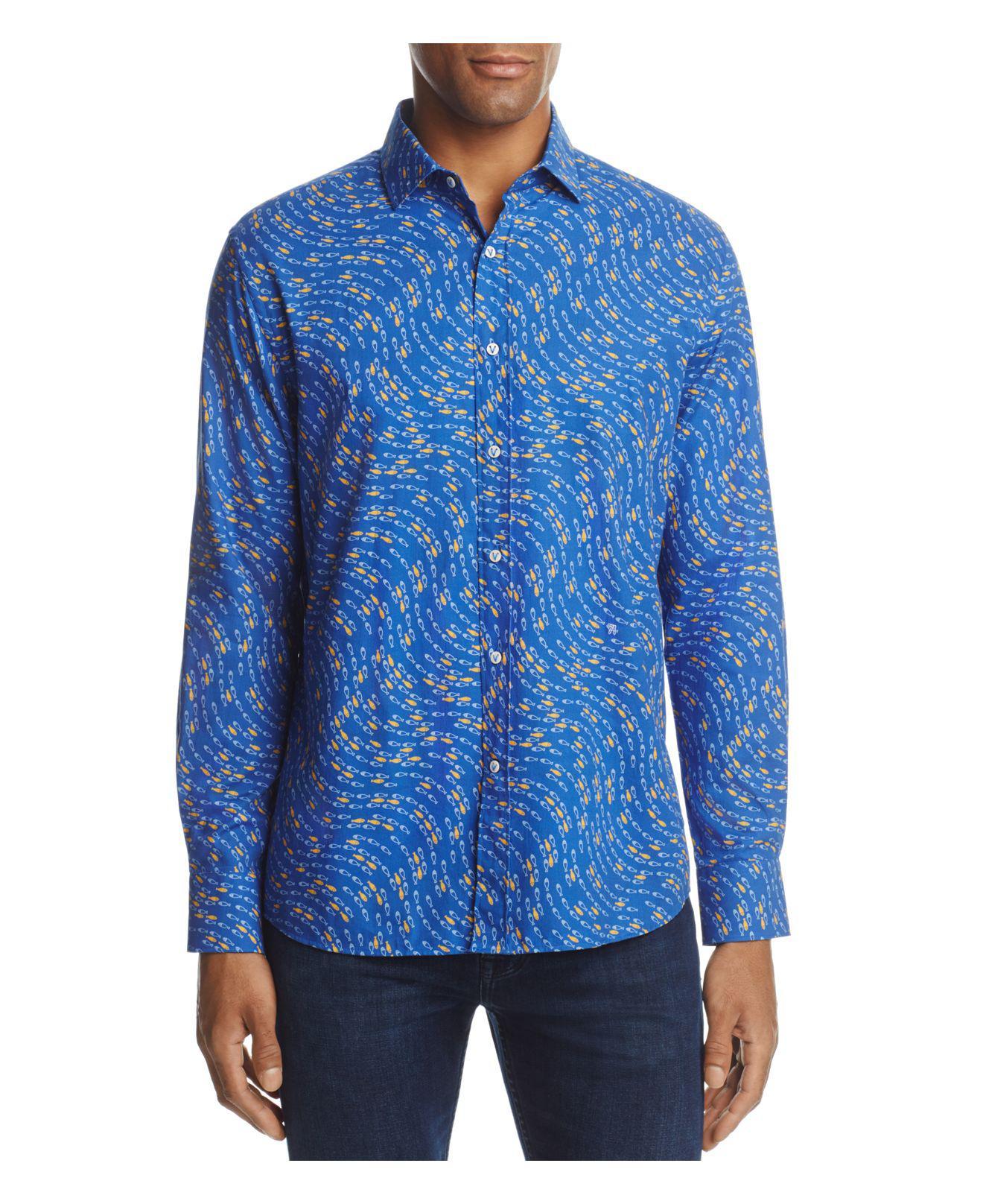 Vilebrequin fish print long sleeve button down shirt in for Fish print shirt
