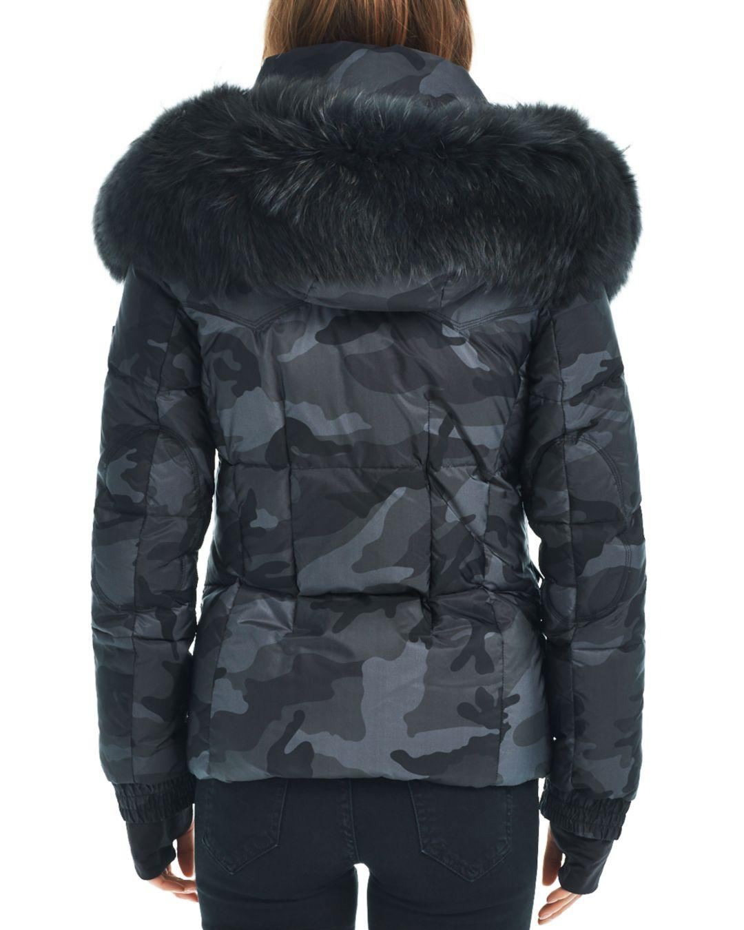 cb00e57e12670 Lyst - Sam. Camo Fur Trim Jetset Down Jacket in Gray