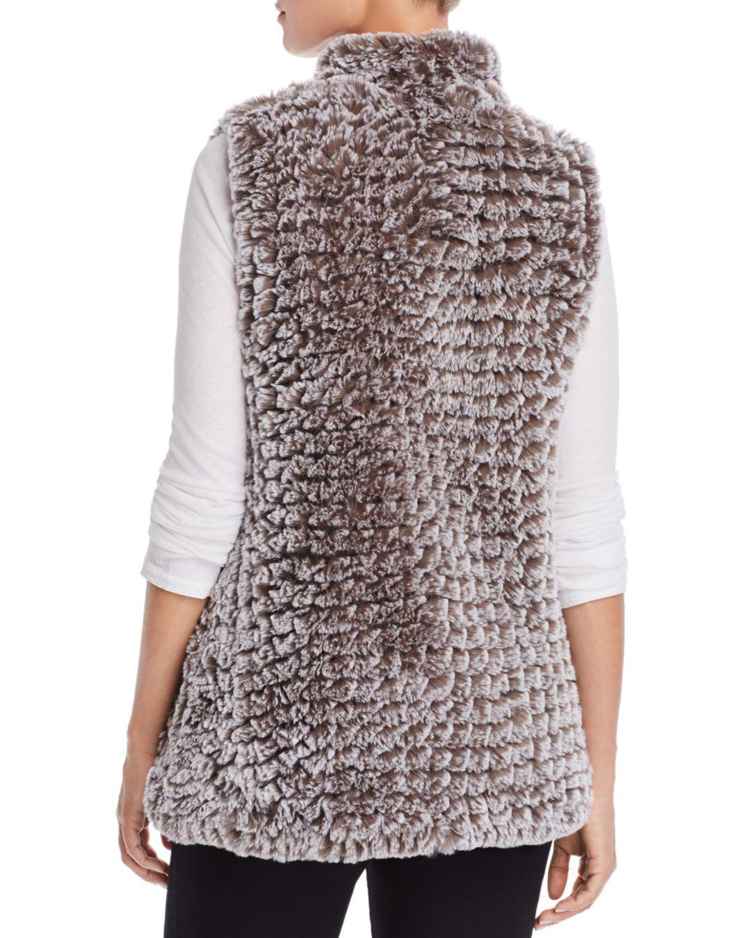 c821cb5cca895 Lyst - Aqua Faux Fur Vest in Gray - Save 41%