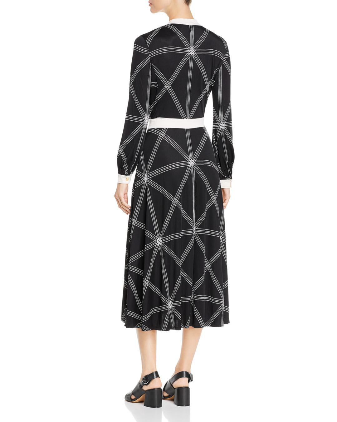 64f9016b568a3 Lyst - Tory Burch Anja Printed Midi Dress in Black - Save 62%