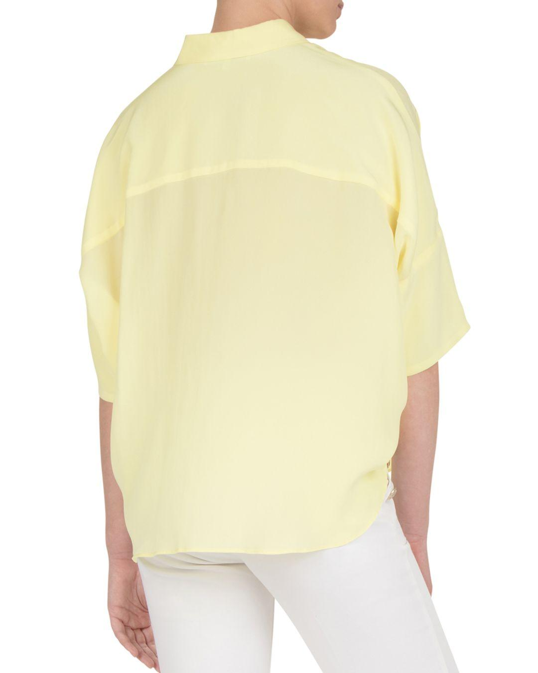 9098a266b0486 Gerard Darel Elio Batwing-sleeve Silk Shirt in Yellow - Lyst