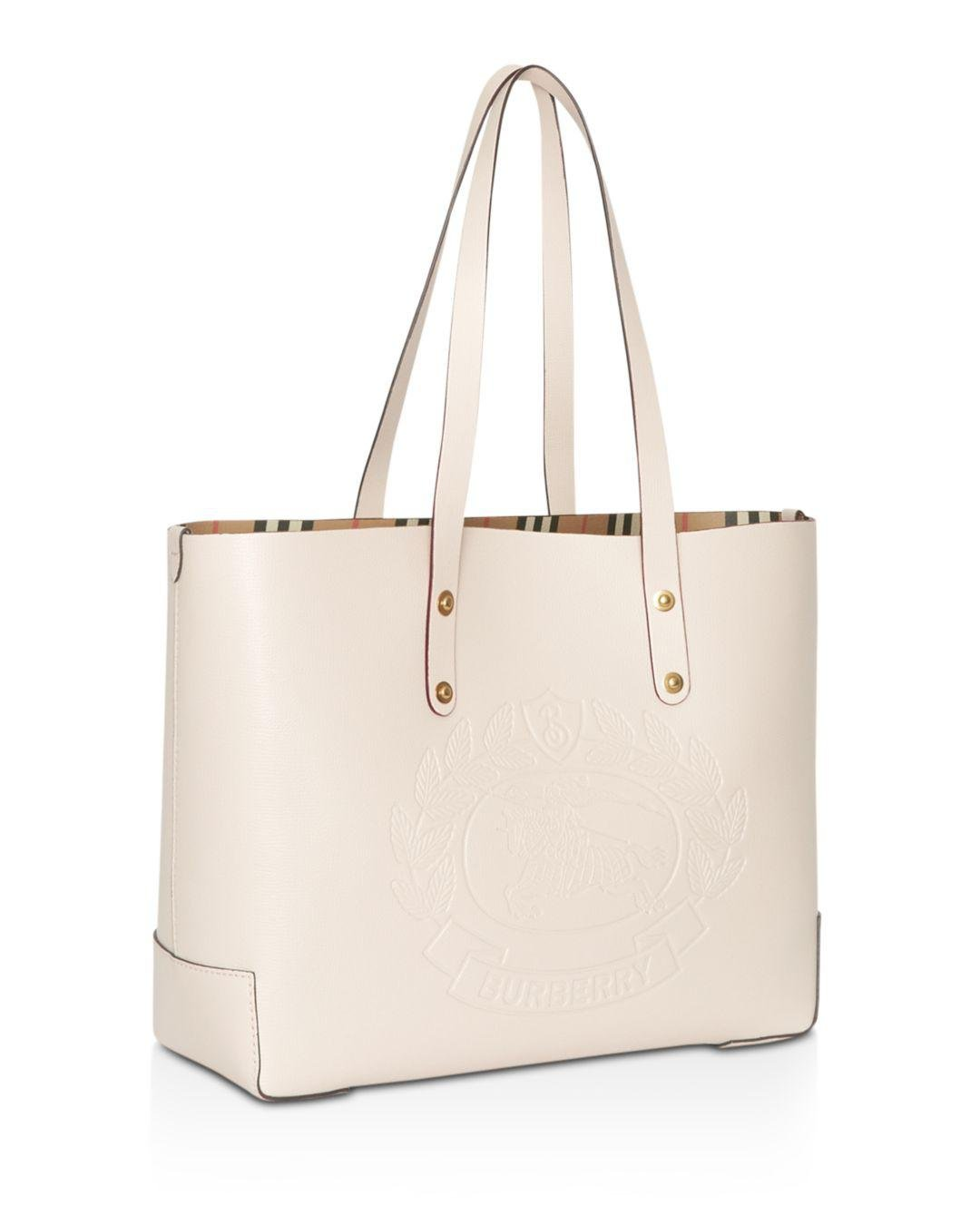 89b3c5031d78 Lyst - Burberry Small Embossed Crest Leather Tote