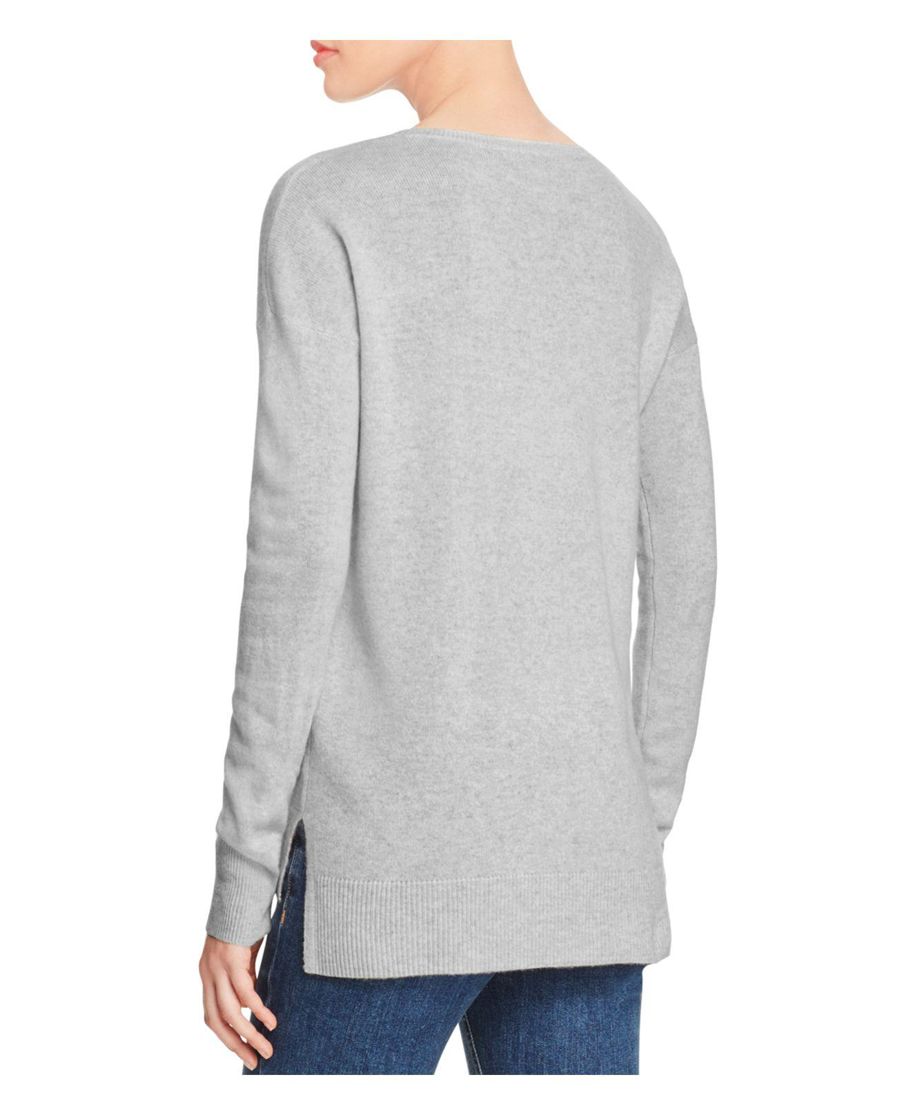 Aqua Cashmere High/low Crewneck Cashmere Sweater in Gray - Save 61 ...