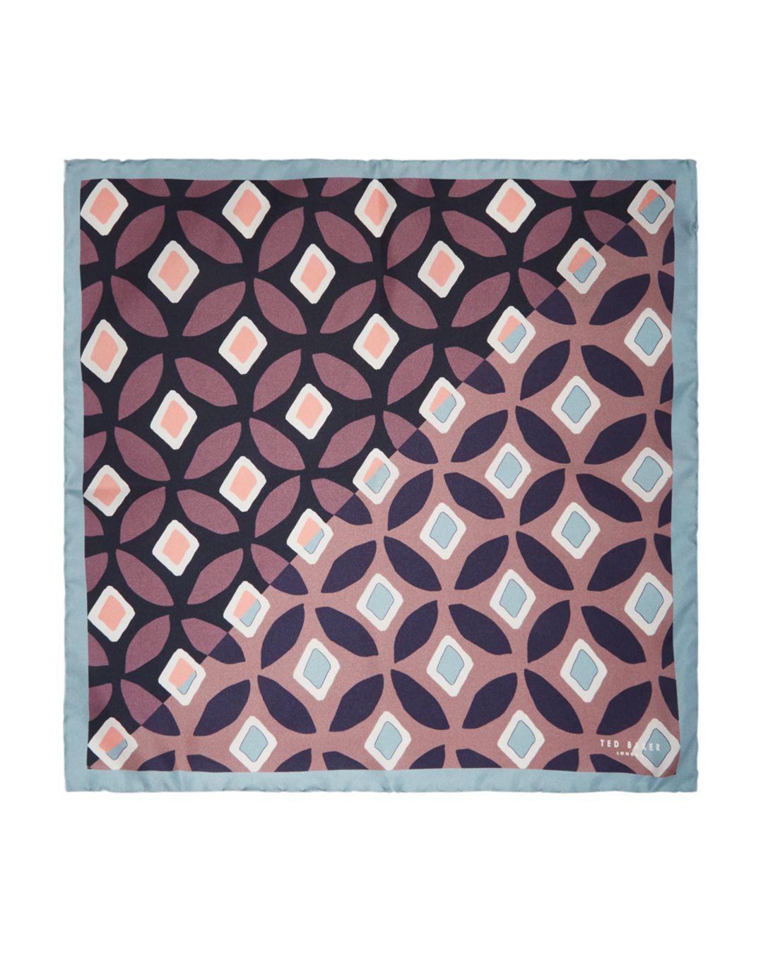 fbae5d5adc11 Lyst - Ted Baker Herne Split Geometric-print Silk Pocket Square in Blue for  Men