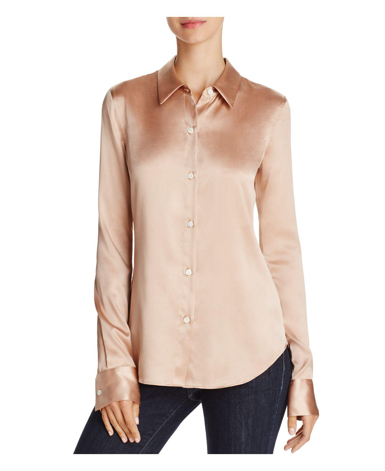 0f30ebd58eb0f Lyst - Theory Perfect Fitted Stretch-silk Shirt in Pink