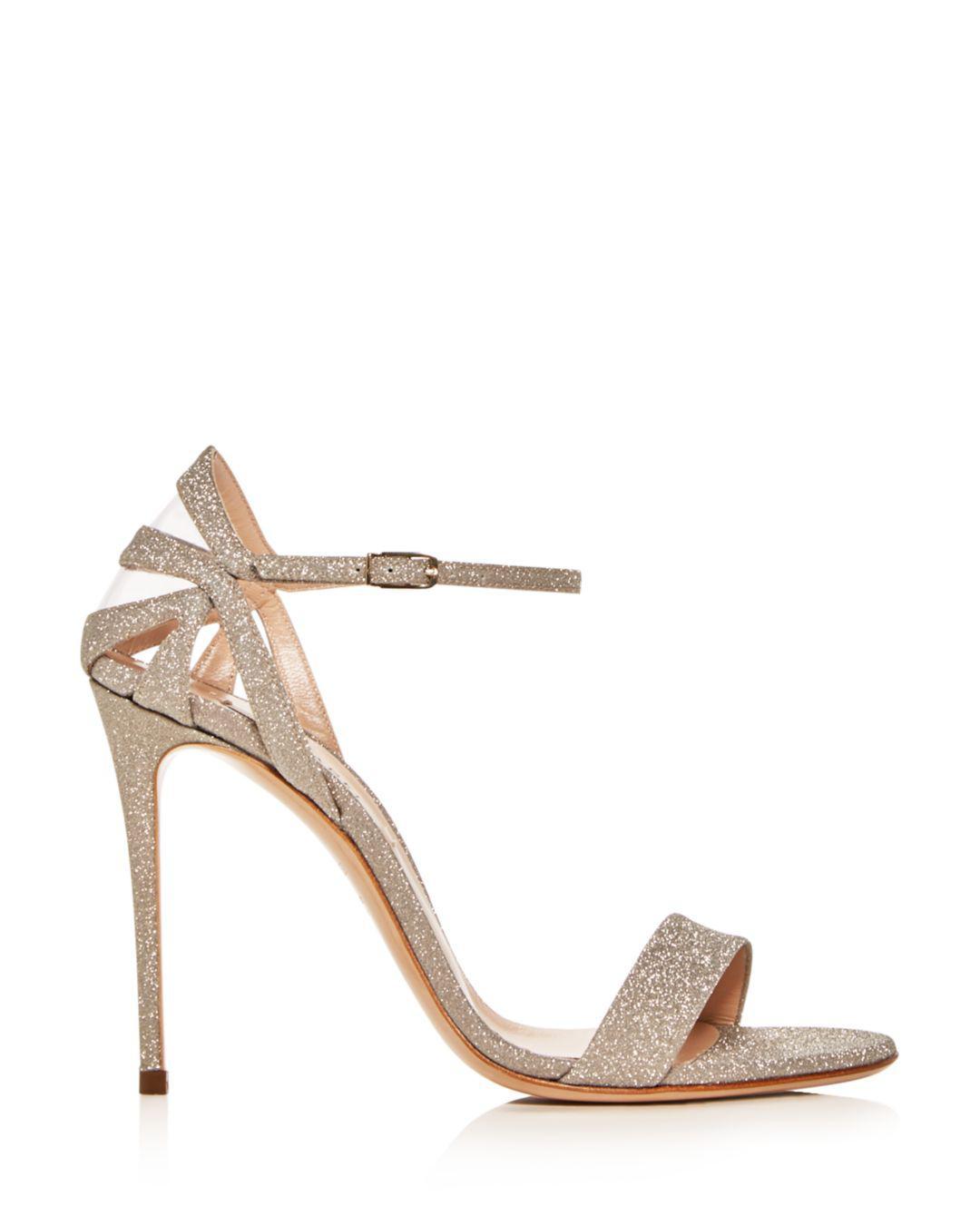 abdb6d99024 Casadei Women s Glitter Ankle-strap High-heel Sandals - Lyst