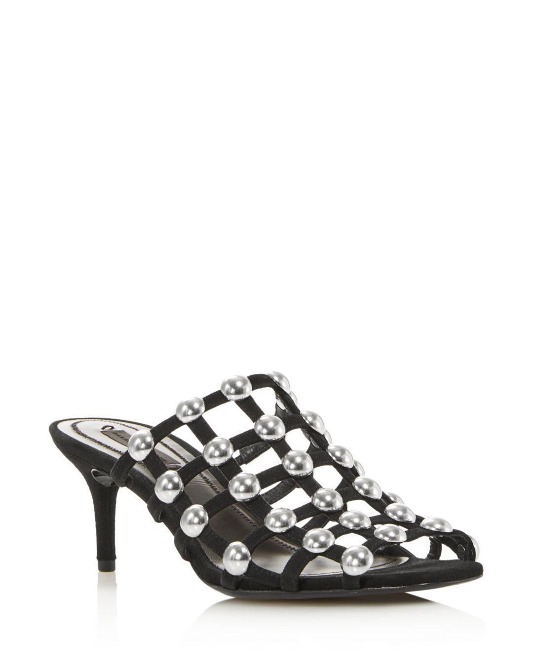 65215f819b0 Lyst - Alexander Wang Women s Sofia Studded Kitten Heel Mules in ...