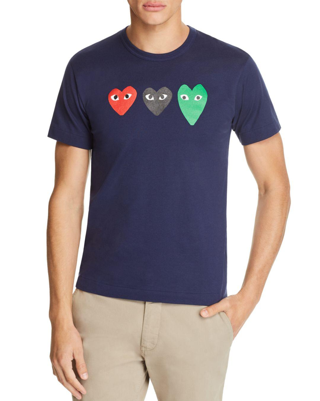 940ada650ab1 COMME DES GARÇONS PLAY Three Hearts Short Sleeve Tee in Blue for Men ...