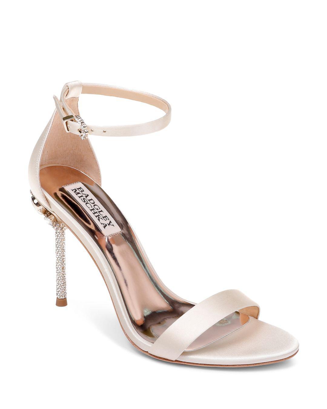 d32e853754f Badgley Mischka. White Women s Vicia Embellished Satin High-heel Sandals