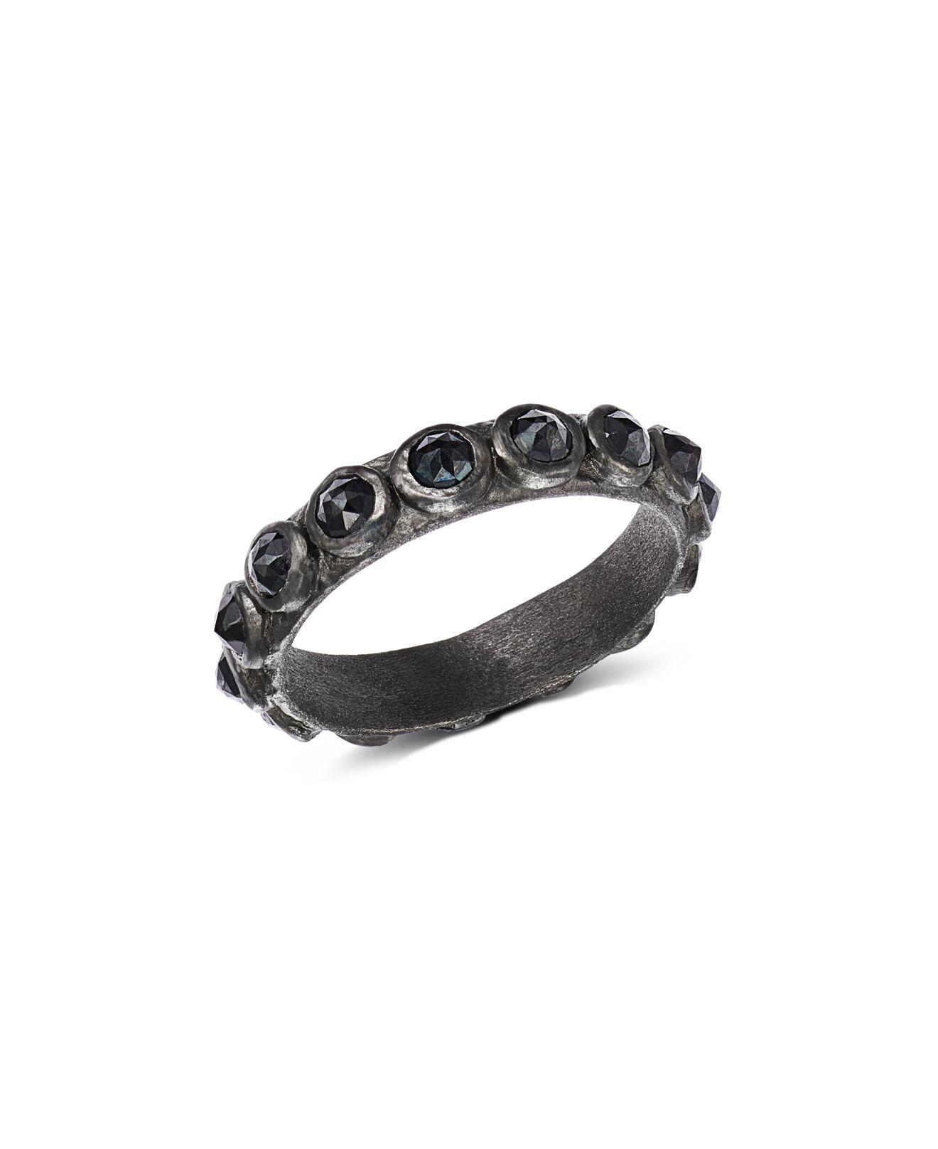 Armenta New World Black Spinel Stacking Ring
