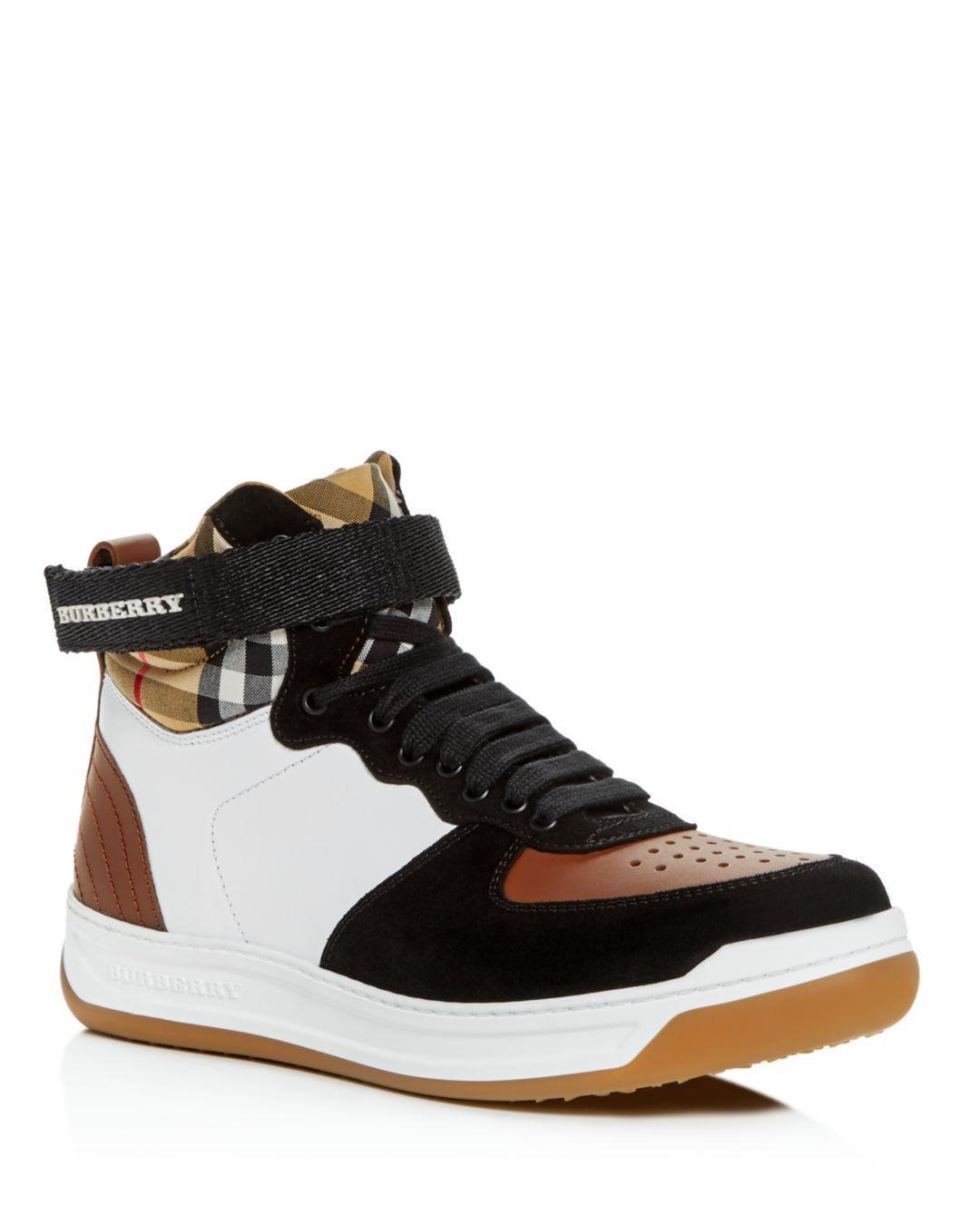 Burberry - Multicolor Women s Dennis Vintage Check High-top Sneakers -  Lyst. View fullscreen ace2df10cfc
