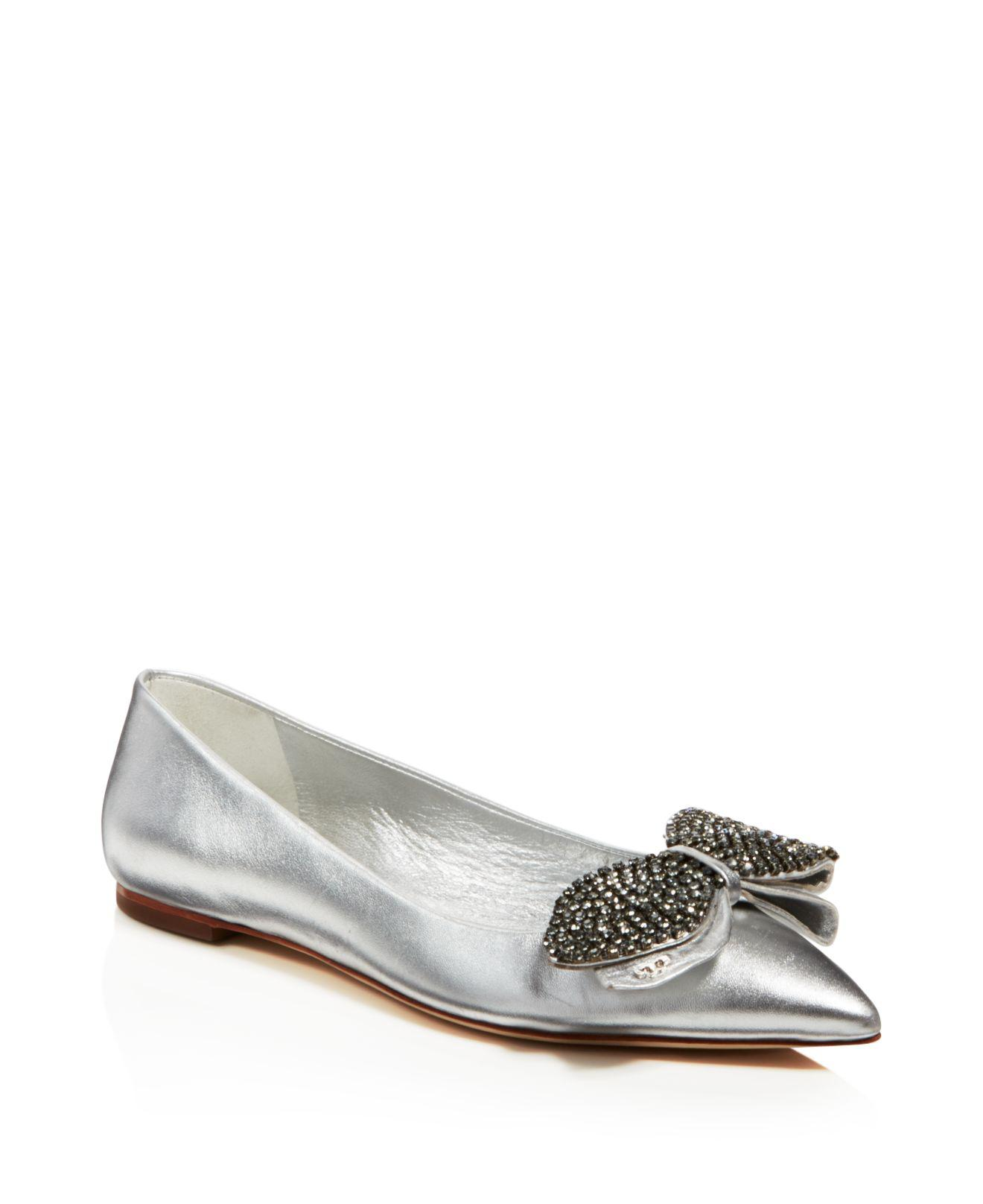 Tory Burch Embellished Metallic Flats new styles online TM6v1Q4PS