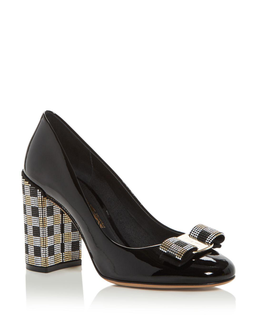d7d4a55d6932 Lyst - Ferragamo Women s Vara Embellished High Block-heel Pumps in Black