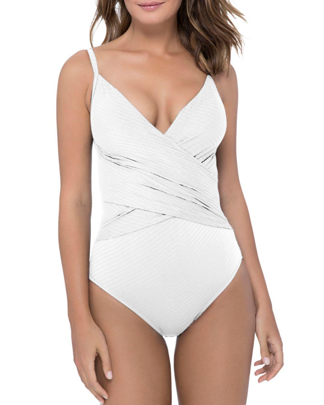 bf40a67a33511 Gottex. Women's White Ribbons Ribbons Crossover V-neck One Piece Swimsuit