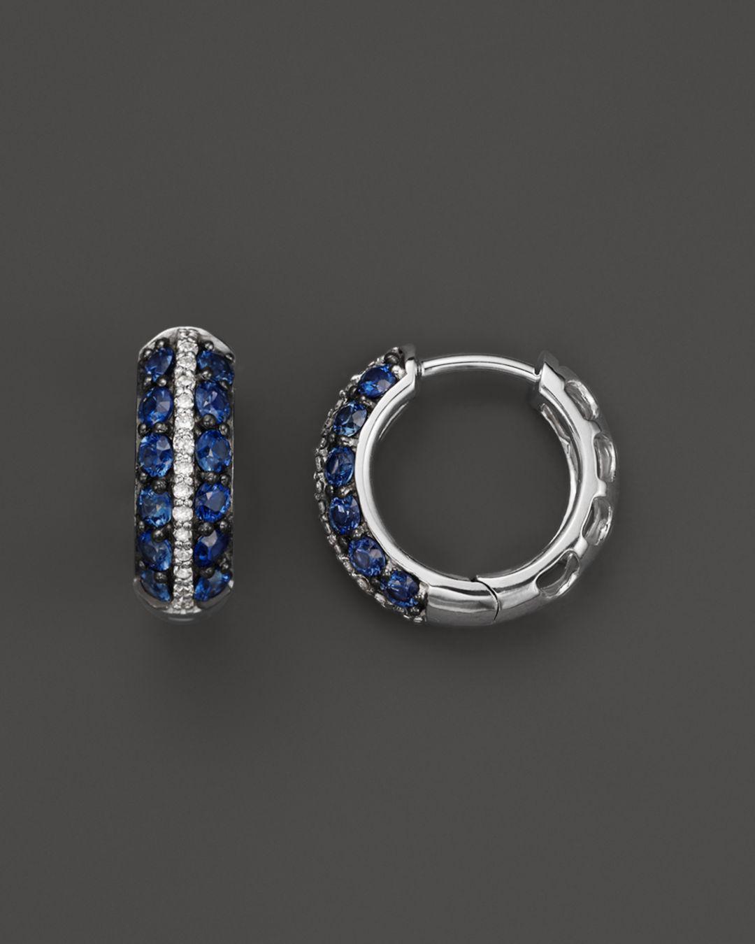 9693a958524fc7 Bloomingdale's. Women's Blue Sapphire And Diamond Huggie Hoop Earrings In  14k White Gold