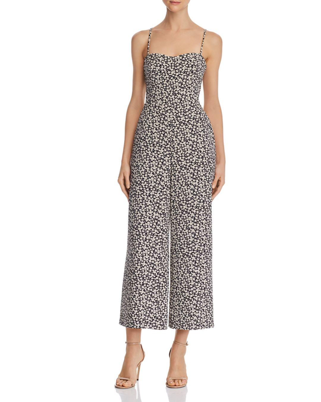 161730db969 French Connection Cropped Tie-back Floral-print Jumpsuit in Black - Lyst