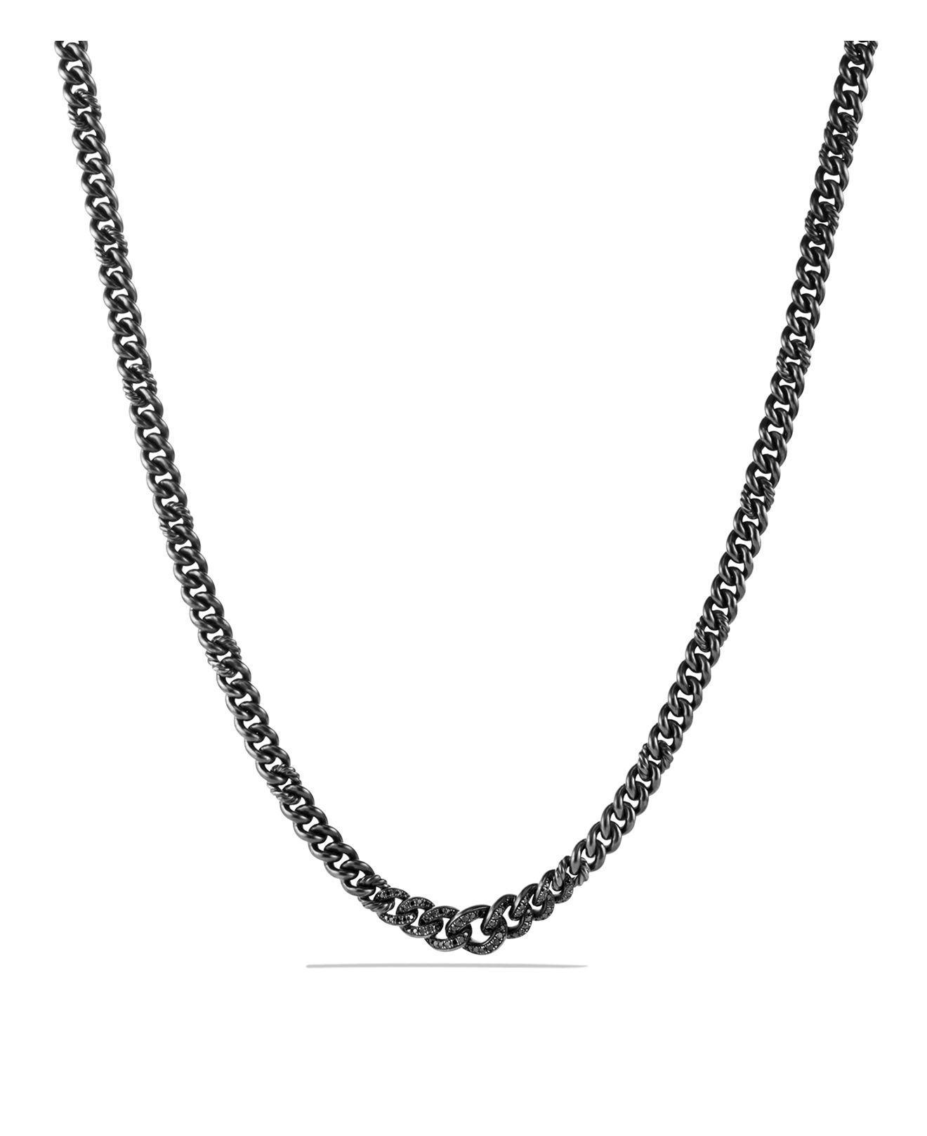 David yurman Petite Pavé Curb Chain Necklace With Black Diamonds