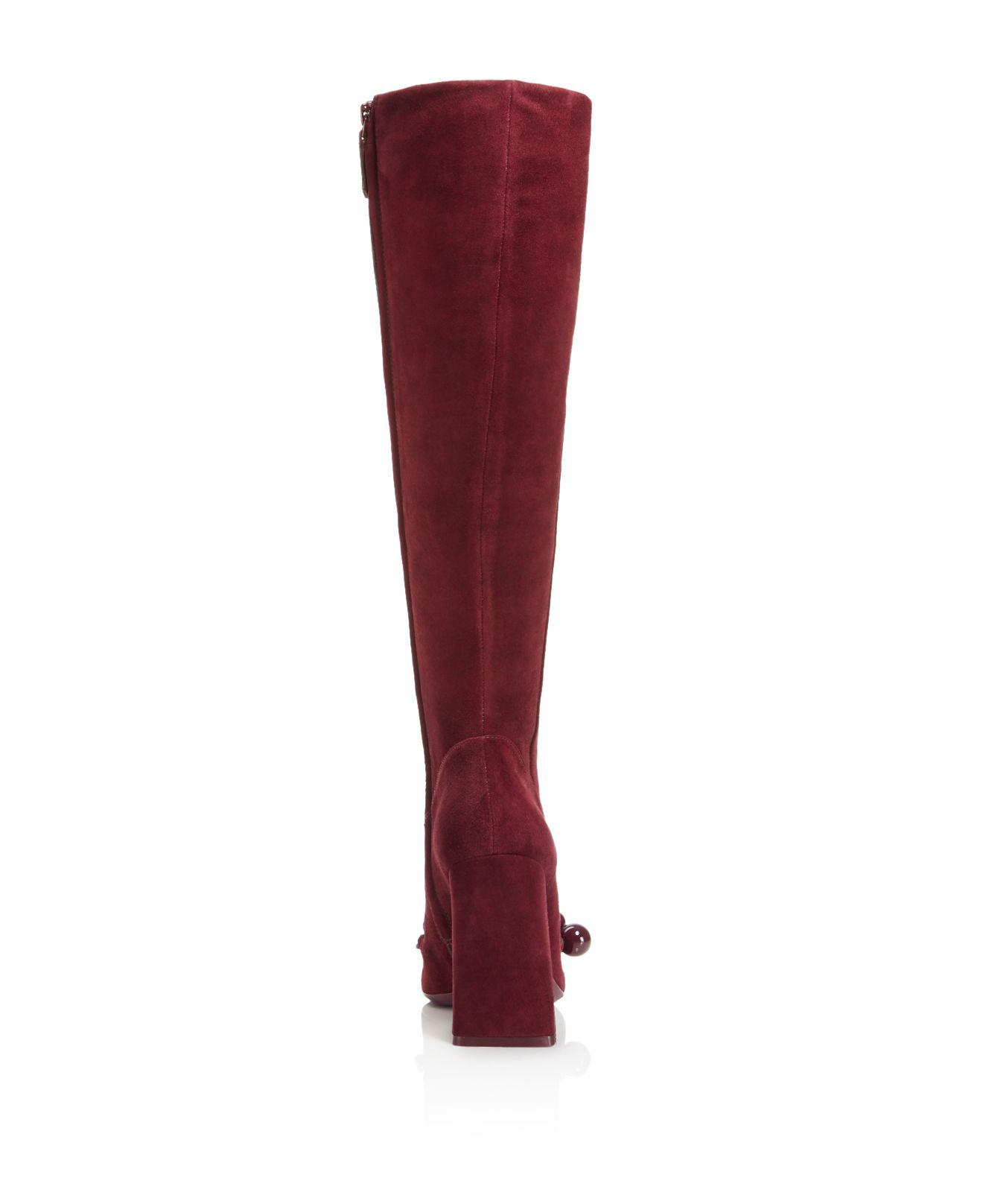 6523f5de1 Lyst - Tory Burch Addison Suede Square Toe Knee Boots in Red