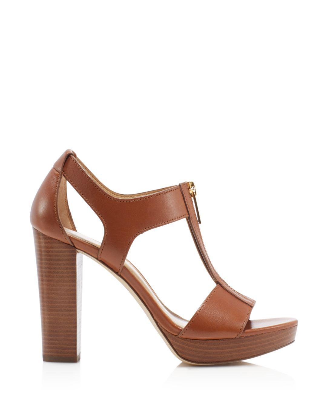 196e9a007985 Lyst - MICHAEL Michael Kors Berkley Zipper Platform High-heel Sandals in  Brown - Save 25%