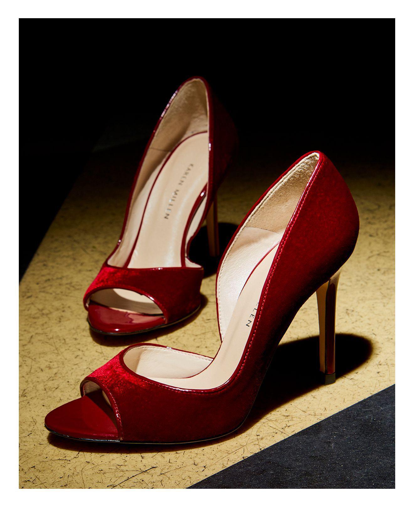 917fd60b008 Karen Millen Women's Velvet Court Peep Toe Pumps in Red - Lyst