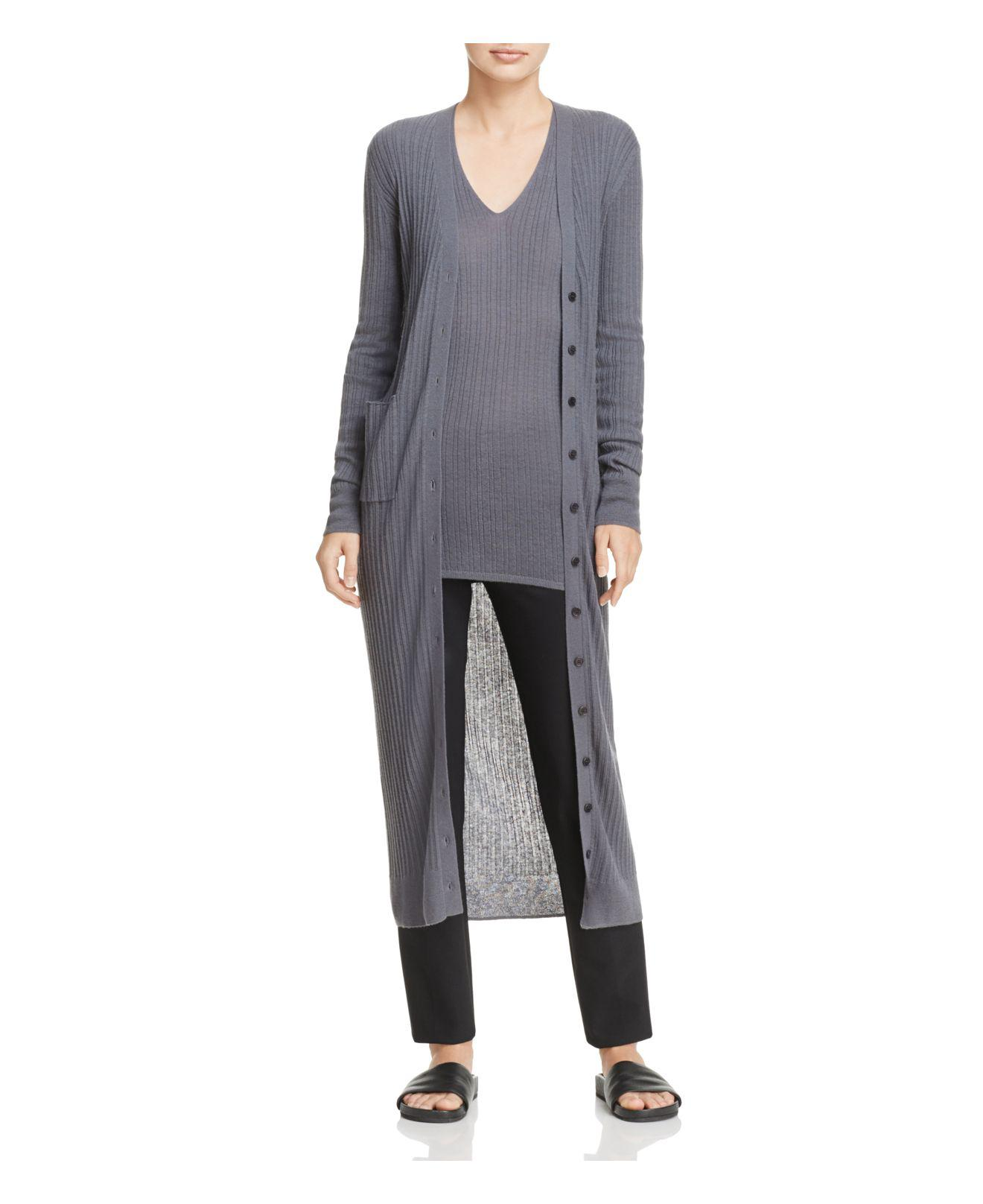 Vince Cashmere Ribbed Duster Cardigan in Gray | Lyst