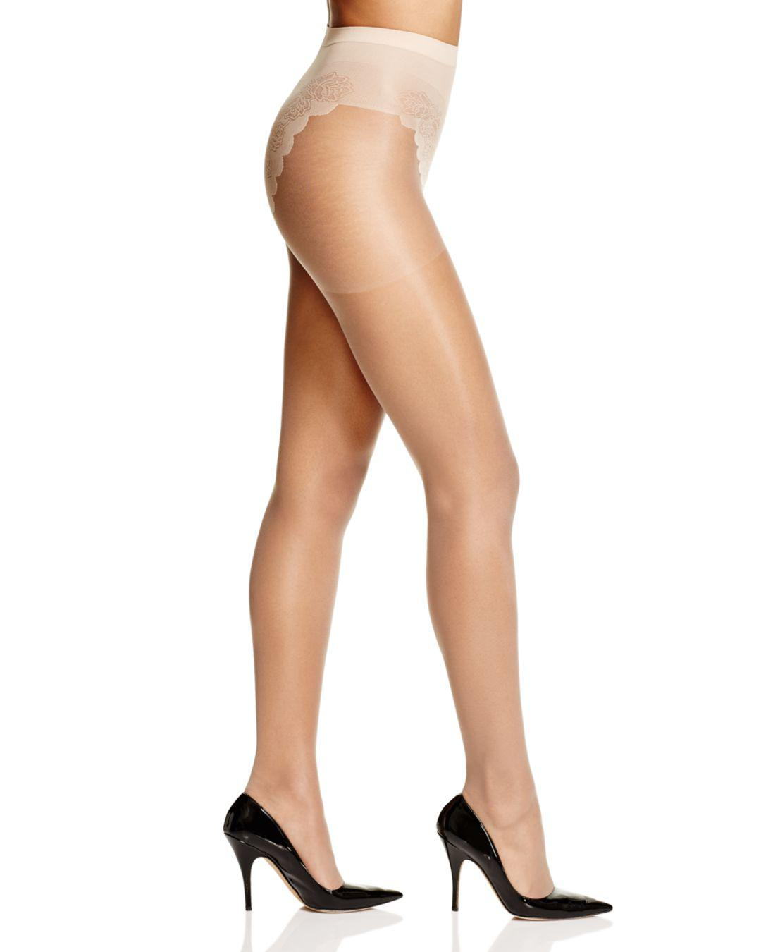 4e359ee98d5f9 Hue French Lace Control Top Sheer Tights in Natural - Lyst