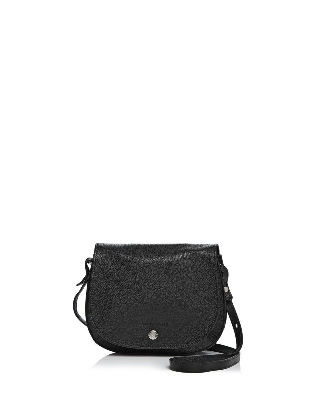 Lyst - Longchamp Le Foulonne Small Leather Saddle Handbag in Black ... ba1d91ded9ce6