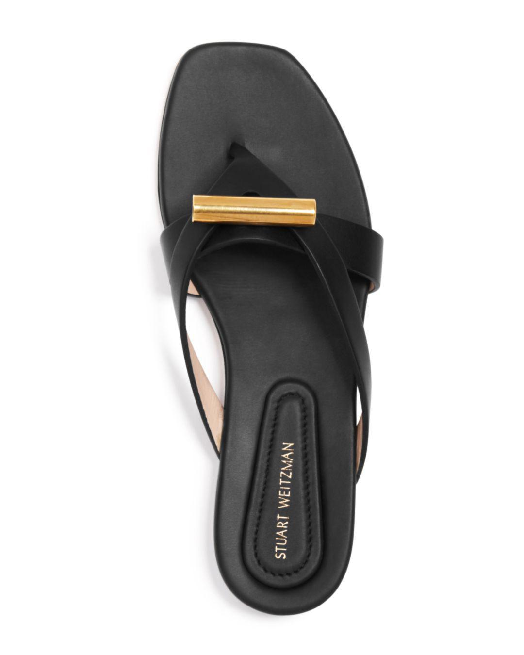 486040a1f47 Stuart Weitzman Arro Flat Thong Slide Sandals in Black - Lyst